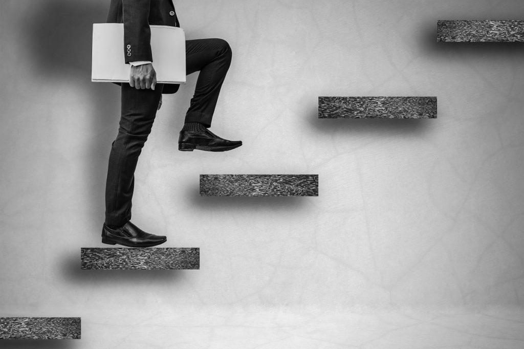 business man on steps