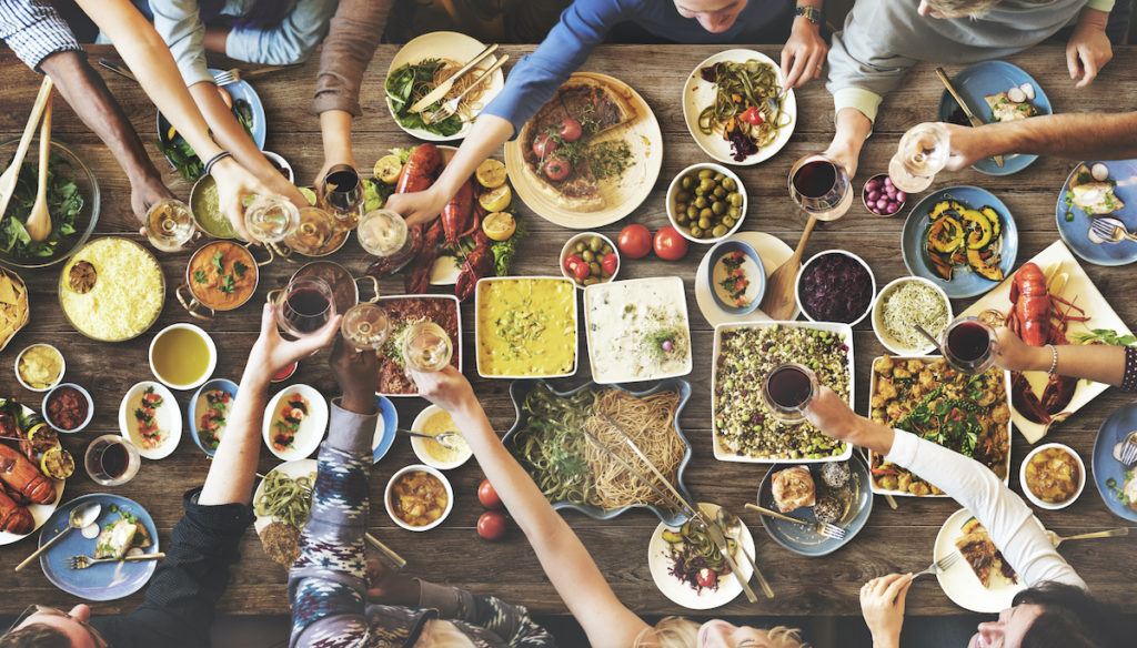 people eating together