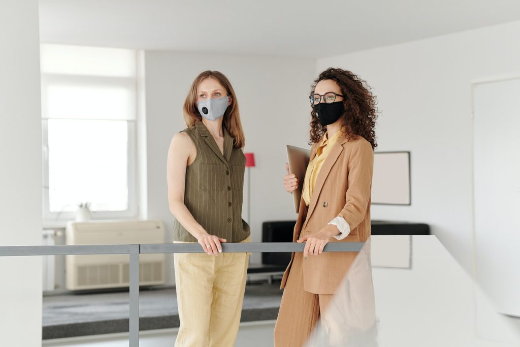 wearing masks in the office