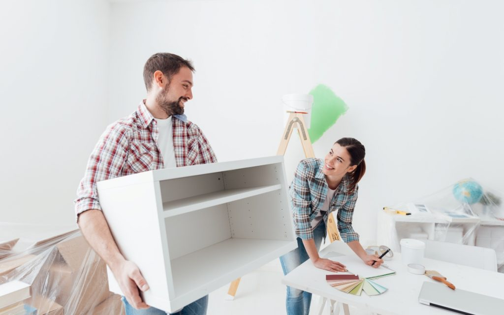 people designing a room